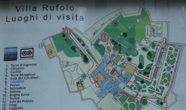 Ravello villa ruffolo map