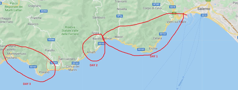 MAP 3 DAYS IN AMALFITANA COAST